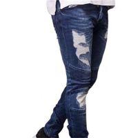Erkek Tasarımcı Yırtık Biker Kot Yaz Bahar Nakış Denim Mavi Draped Hiphop Street Jeans