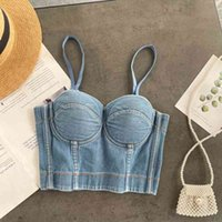 Fashion corset washed denim sexy V-neck halter adjustable underwear tops for women outer wear inner beautiful back camisole top 210420