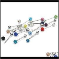 هيئة jewelryxinyao 1 قطع colorf الكرة بار الجراحة الفولاذ المقاوم للصدأ اللسان خواتم للنساء الحديد ثقب ثقب المجوهرات انخفاض التسليم 2021 v