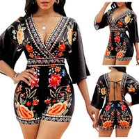 Women Jumpsuits Rompers summer clothes print floral sexy club elegant lace short sleeve deep-v neck leggings bodysuits shorts backless plain Bohemia holiday 01666
