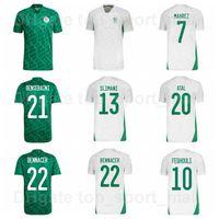 2021 2022 Milli Takım Cezayir Futbol Forması Ev 13 Slimani 7 Mahrez 2 Mandi 9 Bounedjah 15 Soudani 10 Feghouli Futbol Gömlek Kitleri