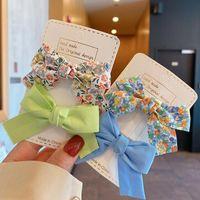 Hair Accessories Cotton Flower Printed Bowknot Clips For Cute Girls Barrettes Safty Hairpins Headwear Kids