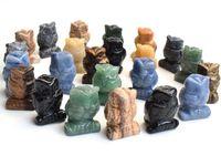 1,5 pollici altezza altezza piccole dimensioni gufo statua artigianato naturale chakra pietra intagliata cristallo reiki guarigione animale figurina 1 pz