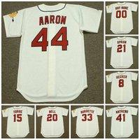 Milwaukee Vintage Baseball Jersey 21 Warren Spahn 8 Bob Uecker 15 Joe Torre 1960 20 Gus Bell 33 Lew Burdette 41 Eddie Mathews 44 Hank Aaron