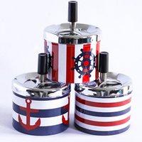 Kreative Metallkunststoff Runde Aschenbecher Aschenbecher mit Deckeln Drücken Sie Rotary Tragbare Zigarettenwagenhalterung für Tabakzigar Rauchen Trockenkraut