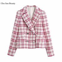 Chu Sau Beauty 2021 EUROPEO Y Americano Moda Temperamento de doble pecho All-Match Casual Plaid Texture Blazer Trajes de Mujeres Blazers