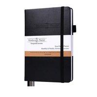 A5 Onepads Organizer Black Pu Leather Note Book 2021 الأهداف Grantitude Focus أسبوعي الشهري أعمال الأعمال الشهرية 90 يوما يوميا مخطط مخطط دفتر