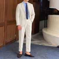 Vintage Gentleman Groom Suit Business Men Tuxedo 3 Solid Color Linen 2 Piece Formal Dress Wedding Men's Suits & Blazers