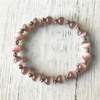 Charm Bracelets 2021 Design Metal Bead And Purple Cat Eye Bracelet Wrist Yoga Mala Happiness Gift Mental Healing Energy Protection
