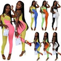 Контрастные цветные комбинезоны Сплит без рукавов Женская одежда Сексуальный дизайнер Нерегулярные женские женские Rompers One Pheck S-XXL