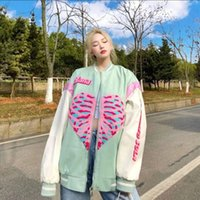 Women's Jackets Vintage Women Spring-autumn Korean Love Printed Baseball Uniform Female Streetwear Trendy O-neck Loose Top Clothes
