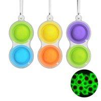 Luminous Decompression Toys Keychains Pendant Silicone Push Bubble Finger Toy Keychain Luggage Decoration Key Ring Creative Gift