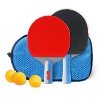 Tennis Tennis Raquets 1 Ensemble de raquettes longues / courtes Raquettes Pong Pong Caoutchouc en caoutchouc double face Pimples-in raquette avec boules + sac