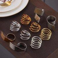 Gold Silber Serviette Ring Edelstahl Servietten Schnalle Hotel Hochzeit Tisch Dekoration Handtücher Dekor Aushöhlen Ringe LLF8599