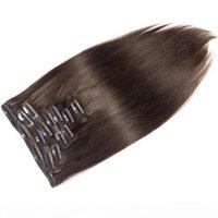 Grau Certificada CE 8A 70G 100G 120G 140g 160g Cabeça Chefe de Seda Reta Virgem Remy Clipe na extensão de cabelo humano peruano malaio