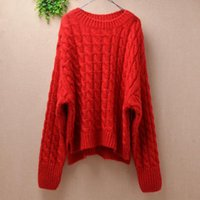 Ladies Women Fashion Thick Needles Mohair Knitted Braids Crochet Loose Long Batwing Sleeves Pullover Outwear Sweater Jumper Tops Women's Swe