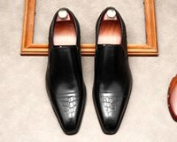 Dress Shoes Mens Fashion loafers Oxford party Wedding Genuine Leather Red bottom square Toe Slip On Formal Business Shoe Flats British style