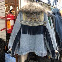 Women's Jackets Winter Parkas Cotton Padded Jean Jacket Female Embroidery Denim Coat Large Fur Collar Plush Velvet Thick Warm Jeans