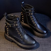 Boots Genuine Leather Rivets Creepers Women Belt Buckle Platform Ankle Booties Height Increasing Plush Winter Botas Mujer S619
