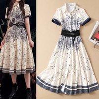 Европейская и американская высококачественная рубашка платье однобортное начало талии на шнуровке с короткими рукавами