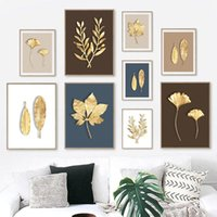 Paintings Modern Golden Plant Leaf Wall Art Abstract Canvas Painting Nordic Posters And Prints Pictures For Living Room Home Decor