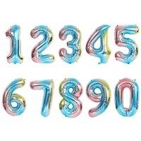 6 Farben 32 oder 16 Zoll Nummer 0-9 Ballons, Hochzeitsraum, Geburtstagsfeierdekoration, Aluminiumfilm-Ballone 242 U2