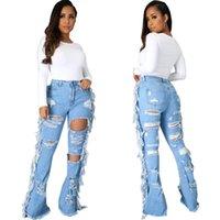 Women's Jeans Hollow Out Ripped For Women Sexy Hole Tassels Denim Pants Plus Size Pocket Flare Bell Bottom Trousers Streetwear