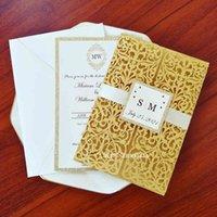 윤기가있는 삽입 및 태그와 50 배 우아한 청첩장 DIY 레이저 결혼 파티에 대 한 맞춤형 인쇄 인사말 카드 잘라