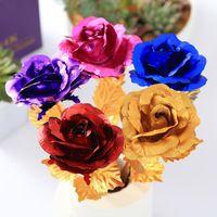 Artificiale flower lungo flower 24k foglio oro placcato regali rosa per amante wedding natale natale valentines madri giorno decorazione della casa GWE6059