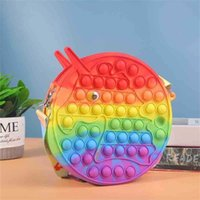 Tie Arco-íris Crianças Empurre Pioneer Crossbody Bag Dos Desenhos Animados Push Bubbles Decompression Wallet Mini One-Shoudlers Messenger Bag Toys
