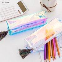 크리 에이 티브 레이저 학교 연필 가방 케이스 다채로운 투명 화장품 makeupbag 파우치 귀여운 소녀 pencilbag 높은 용량 sup dwb6456