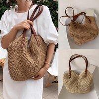 Evening Bags Hand-woven Women's Shoulder Handbag Bohemian 2021 Summer Straw Beach Tote Bag Travel Shopper Weaving Shopping