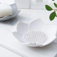Flexibles Silikon-Badezimmer Dusche Seifenschale Box Aufbewahrungsplatte Tablett Drain Halter Blume Seifenkiste HWE6215