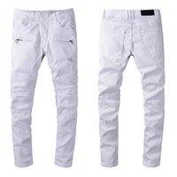 Tasarımcı Lüks Erkek Kot Marka Yıkanmış Tasarım Beyaz Ince Bacak Denim Pantolon Hafif Streç Sıska Motosiklet Biker Jean Pantolon Boyutu 28-40