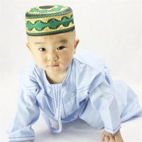 Boys Islamic Clothing Kids Muslim Thobe Arab Abaya Robes For Baby Boy Kaftan Islam Child Clothes Toddler 1-3 Years Jubba Ethnic