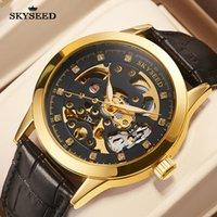 TianDai watch flywheel Sun Moon gold hollow out dial sapphire mirror 41mm business fashion belt waterproof men's automatic mechanical