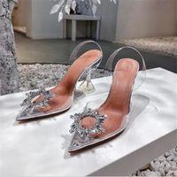 2021 Satış-Kalite Amina Ayakkabı Begum Kristal-Süslenmiş PVC Slingback Muaddi Sticklocks Begum PVC Slingbacks Sandalet Yüksek Topuklu