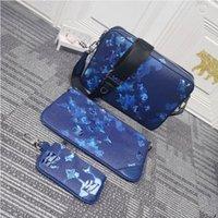 Cross Body Bolsas + Carteira Azul Impressão Designer Saco Removível Moeda Padrão de Mergulho de Couro Revelar Personalizado Personalização Estilo Embreagem Entrega rápida