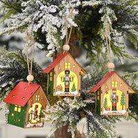 Рождественские украшения Christamas Party Home LED светлый деревянный дом Щелкунчик солдат дерево повесить кулон детский игрушечный год 2021