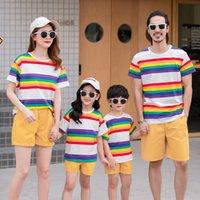 2019 nova chegada família combinando roupas de verão camiseta confortável colorido e amarelo 802 v2