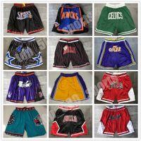 Toppkvalitet Män Team Basket Korta Bara Shorts Don Sport Slitage Med Pocket Zipper Sweatpants Pant Blå Vit Svart Röd Lila Stitch Bra Storlek S-XXXL