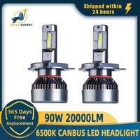 DawnKnight H7 H4 H11 45W P4 BLIB H1 HB3 9005 9006 9012 LED Koplamp Lamp 6500K 90W 20000LM Turbo LED Light Kit 2PCS