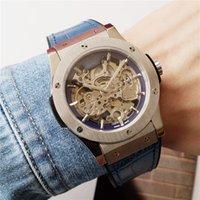 42mm homens moda relógio automático skeleton mens relógio de pulso de couro azul À prova d 'água de couro azul alta hd esportes de vidro menes relógios desenhador