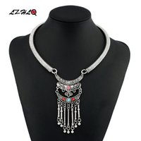 Chokers 2021 Rhinestone Choker Necklaces For Women Vintage Carving Alloy Resin Long Tassel Collar Necklace Fashion Brand Jewelry