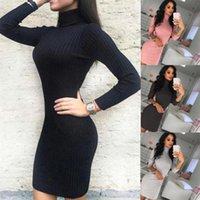 새로운 섹시한 긴 소매 니트 드레스 여성 Bodycon 니트 긴 스웨터 드레스 점퍼 겨울 슬림 풀오버 하이 넥 탑스