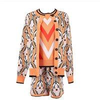 가을 3 조각 세트 여성 드레스 이른 봄 히트 색 자카드 긴 소매 스웨터 카디건 + 스트라이프 조끼 반바지 팬츠 3 피스 슈트