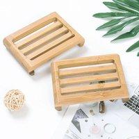 Sapone con piatto di sapone in legno piatti di bambù naturale semplici gioielli display portabicchieri piastra vassoio rotondo custodia quadrata contenitore DHE6003