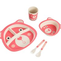 Dinnerware Sets 5Pcs Set Baby Dish Training Tableware Children Cute Cartoon Feeding Dishes Kids With Bowl Cup Spoon Fork Plate