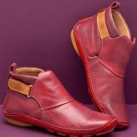 Boots 2021 Leather Slip On Booties Women Support Ankle Winter Short Vintage Casual Shoes Female Botas De Mujer
