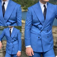 Blue Double Breasted Wedding Tuxedos Soild Color Mens Groom Suits Slim Fit Prom Party Blazer Coat (Jacket+Pants)